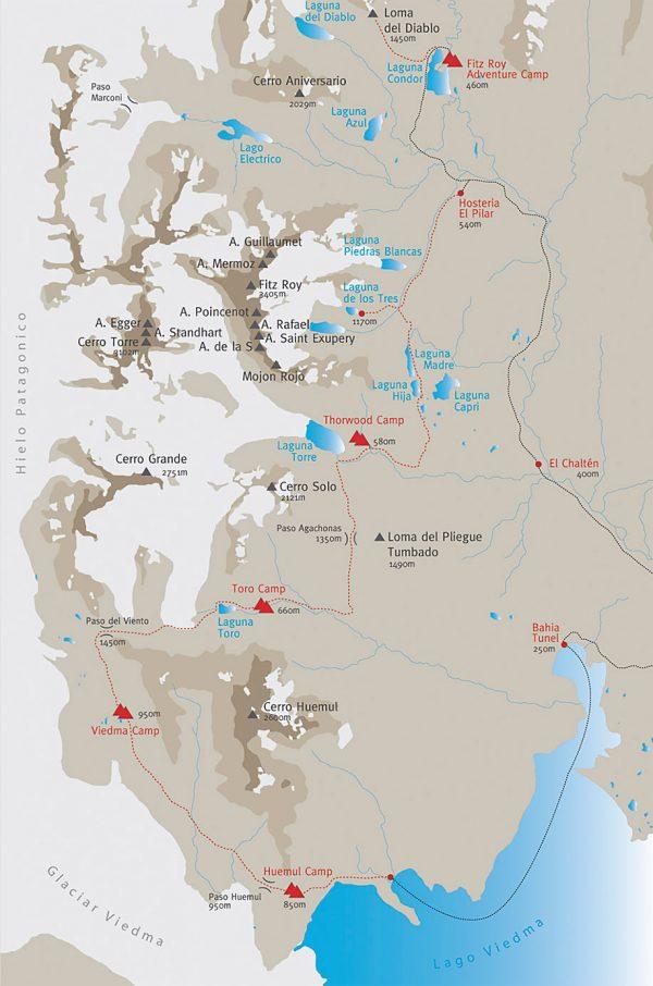 Mapa de El Chaltén