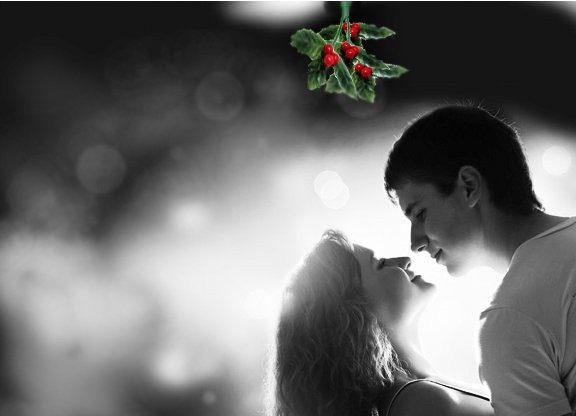 muerdago navidad beso