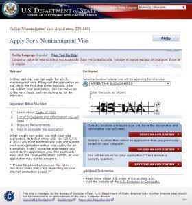formulario DS-160 visa Estados Unidos