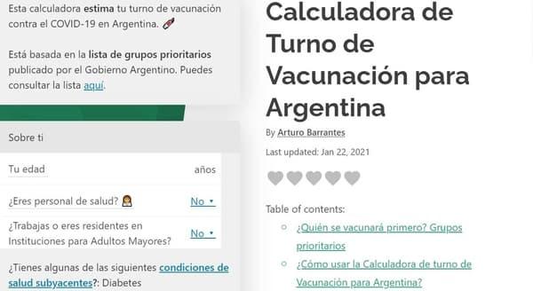 calculadora argentina vacuna covid