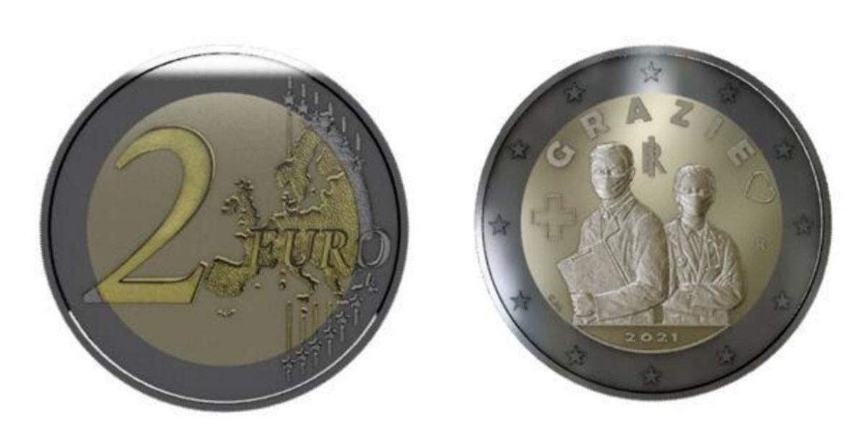 moneda 2 euros italia medicos