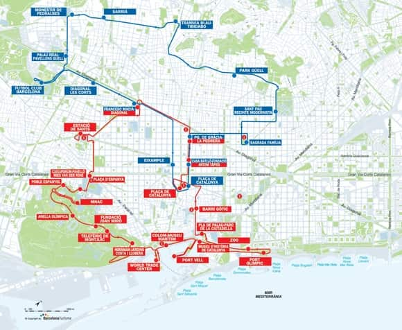 mapa rutas bus turistico barcelona
